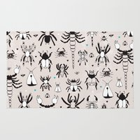 Creepy grunge insect and spider illustration pattern print Rug