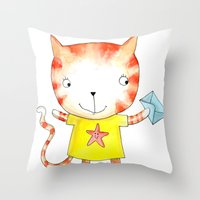Ginger kitten watercolour Throw Pillow