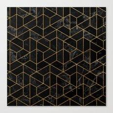 Black Marble Hexagonal Pattern Canvas Print