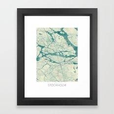 Stockholm Map Blue Vintage Framed Art Print