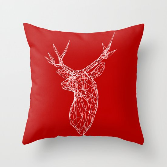 3D Stag Trophey Head Wire Frame Throw Pillow