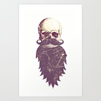 Beard Skull 3 Art Print