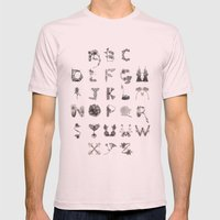 Floral Alphabet  Mens Fitted Tee Light Pink SMALL