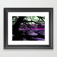 Oak Shadows Pink Framed Art Print