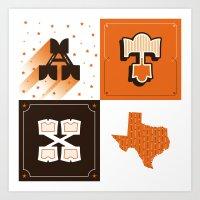 Austin, Texas Orange Art Print