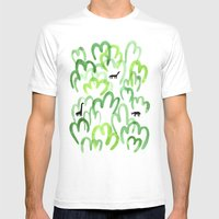 Animals in the forest Mens Fitted Tee White SMALL