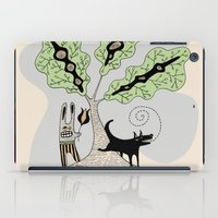 Black Dog and his Rabbit Friend iPad Case