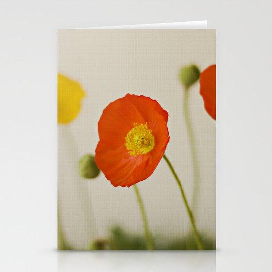 Orange Poppy Bloom Red Green Yellow Flower Stationery Card