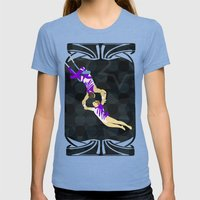 Flying Trapeze Circus Performance Womens Fitted Tee Tri-Blue SMALL