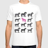 Brave Horses & Pink Pony Mens Fitted Tee White SMALL