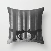 Foxes In The Forest Throw Pillow