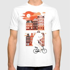 Happy Ghost Biking Through Amsterdam White Mens Fitted Tee SMALL