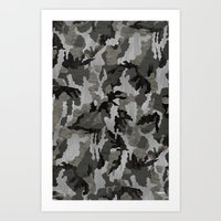 Modern Woodgrain Camouflage / Winter Birch Woodland Print Art Print