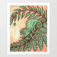 Baby Chameleon Lunch! Art Print