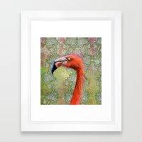 Red big bird Framed Art Print