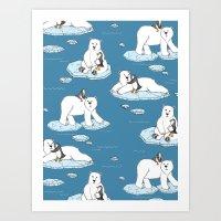 Polar Bear Loves Penguin Art Print