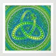 Green Celtic Snake Art Print
