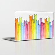 Cat Rainbow Watercolor P… Laptop & iPad Skin