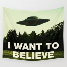 UFO, I Want To Believe Wall Tapestry