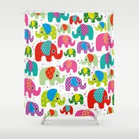 Colorful india elephant kids illustration pattern Shower Curtain