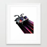 DeLorean Blast Off Framed Art Print