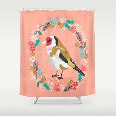 European goldfinch by Andrea Lauren  Shower Curtain