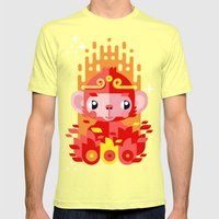 Fire Monkey Year Mens Fitted Tee Lemon SMALL