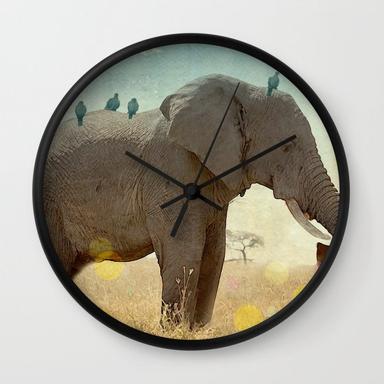 along for the ride _ an elephant and his feathered friends Wall Clock