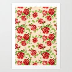 Rose pattern- cream Art Print
