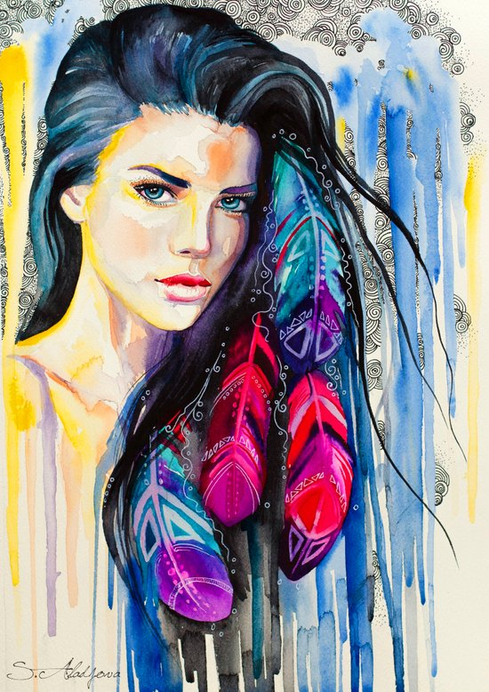Colorful Feathers  Art Print