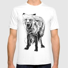 Angry Fox (b&w) White Mens Fitted Tee SMALL
