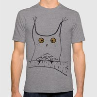 Squarish Owl Mens Fitted Tee Athletic Grey SMALL