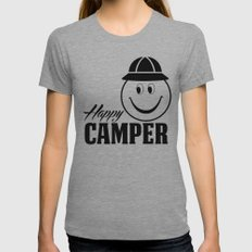 Happy Camper-Smiley Womens Fitted Tee Athletic Grey SMALL