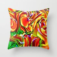 Twisted Tulips Throw Pillow