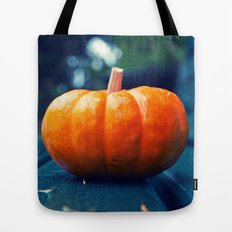 Park bench pumpkin Tote Bag