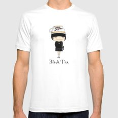 Black Tea Girl SMALL White Mens Fitted Tee