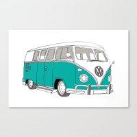 Blue Volkswagen Camper Van (Landscape) (Kombi / VW) Canvas Print