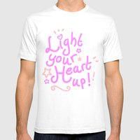 Light Your Heart Up! Mens Fitted Tee White SMALL