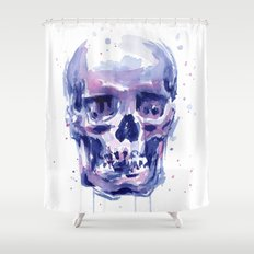 Skull Watercolor Shower Curtain