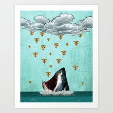 Pizza Shark Print Art Print