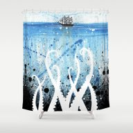 Kraken Watercolor Shower Curtain