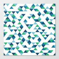 Triangles Blue and Green Canvas Print