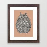 Peach Totoro Framed Art Print