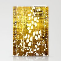 White leaves decor on golden background Stationery Cards