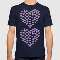 Hearts Heart x2 Radiant Orchid Mens Fitted Tee Navy SMALL