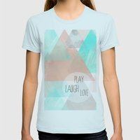 Watercolor Triangles Womens Fitted Tee Light Blue SMALL