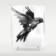 Flying Raven Shower Curtain