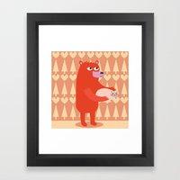 Bear And Cat BFF Framed Art Print