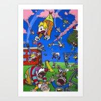 Flying Clowns Descend on the Schoolyard Art Print