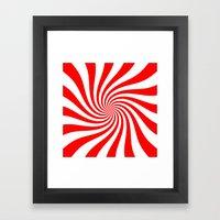 Swirl (Red/White) Framed Art Print